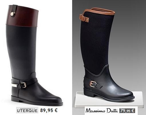 katiuskas, botas de agua y lluvia mujer de uterque y massimo dutti 2013 2014