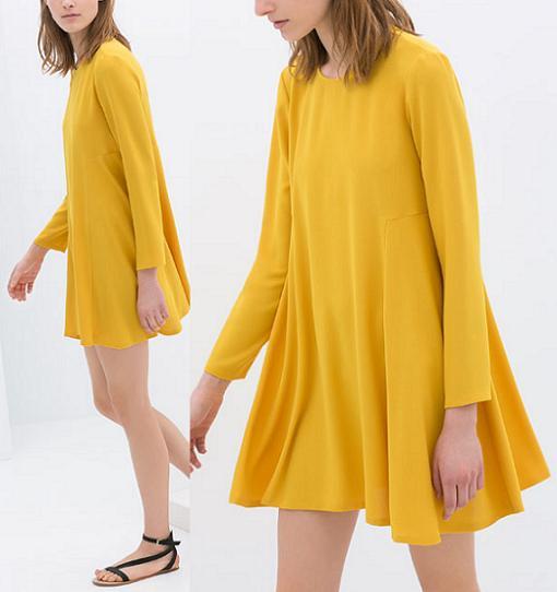 vestidos de zara 2014 amarillo vuelo