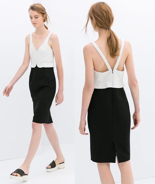 vestidos de zara 2014 bicolor blanco negro