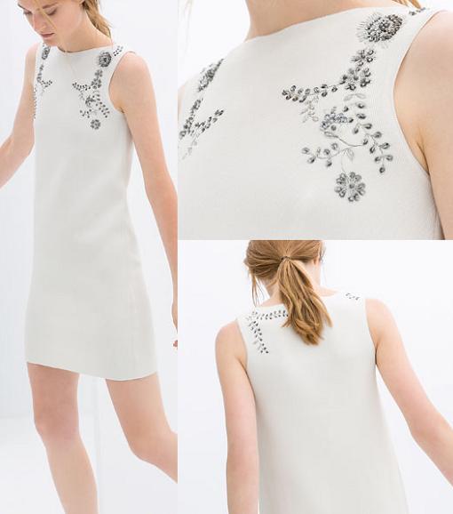 vestidos de zara 2014 blanco pedreria