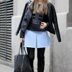 zara falda azul plisada