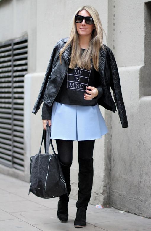 1a2c0b636 Looks con la mini falda plisada en azul pastel de Zara - RobaTendencias