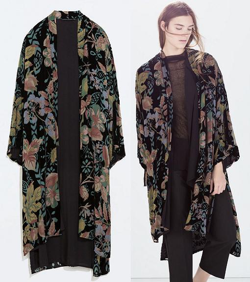kimono zara flores