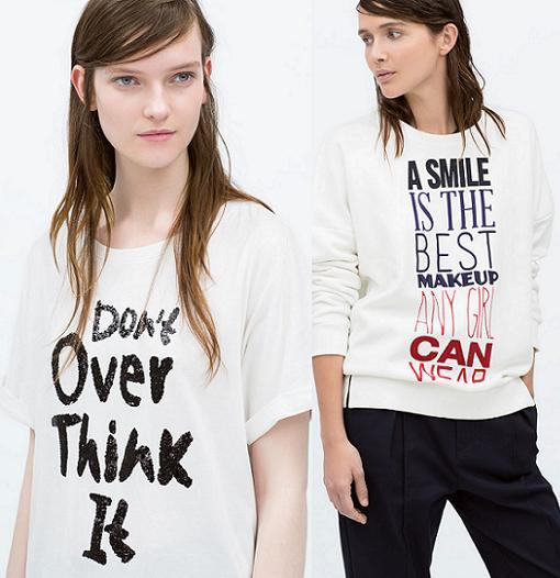 camisetas con mensaje zara