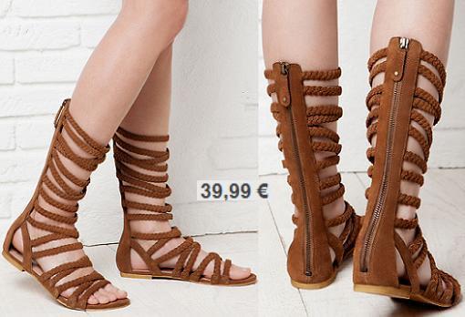sandalias romanas altas bershka