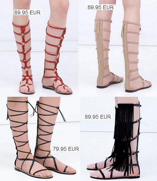 sandalias romanas altas zara
