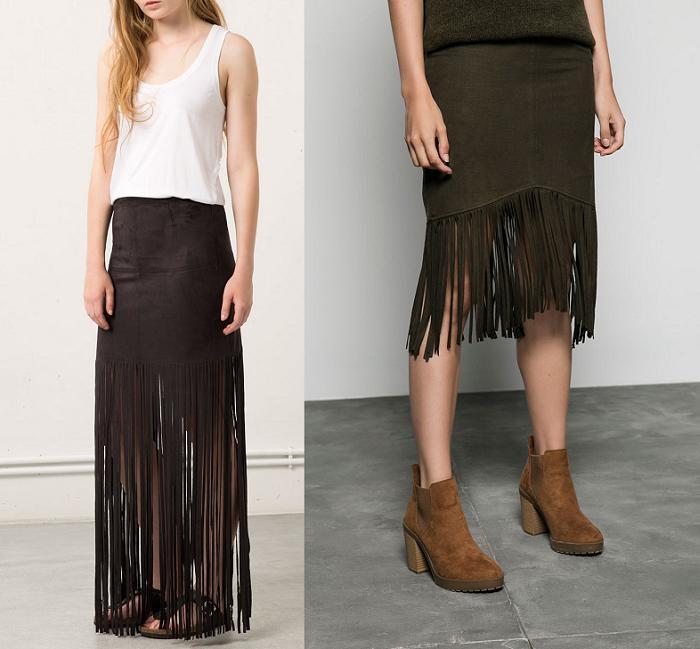 faldas de flecos bershka
