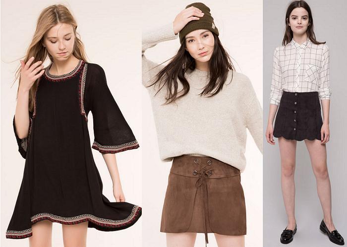 pull and bear vestidos faldas otoño invierno 2015 2016