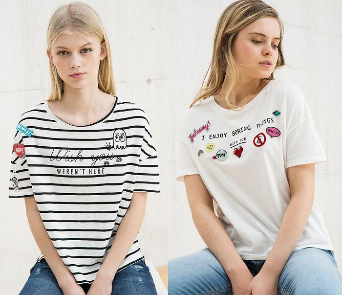 camisetas bershka 2016 de rayas con parches