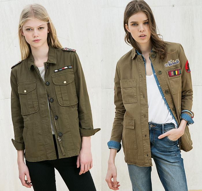 chaqueta militar mujer bershka