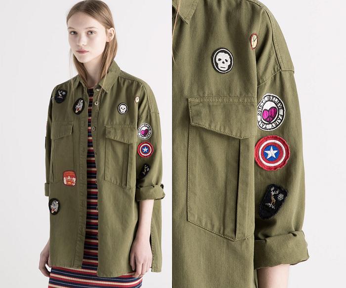 chaqueta militar mujer verde con parches