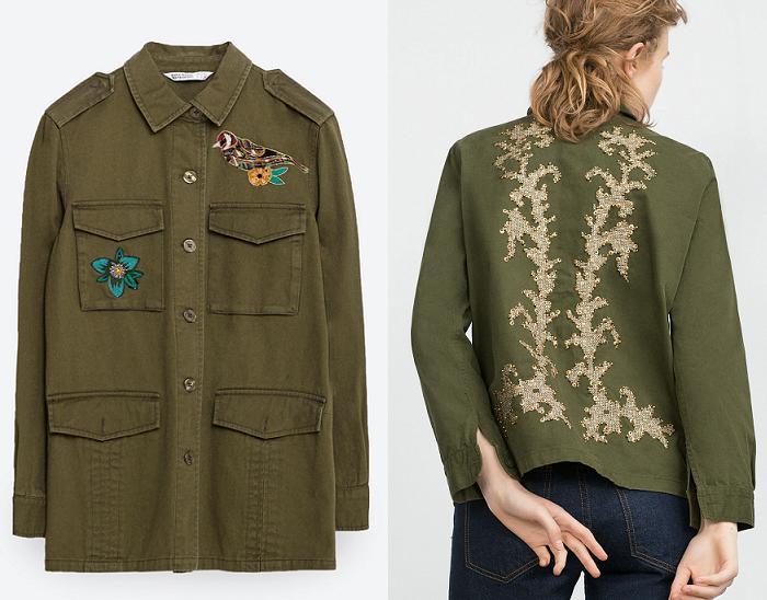 obtener online últimos lanzamientos novísimo selección La chaqueta militar mujer: verde y con parches de moda ...