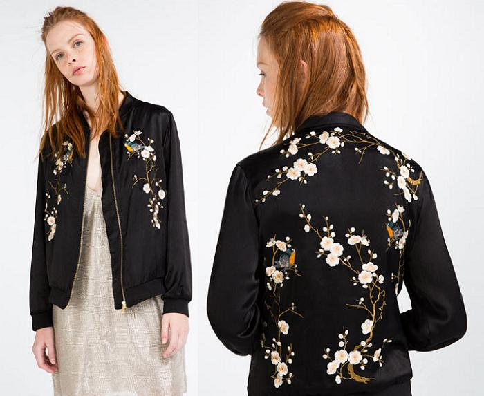 chaqueta bomber zara 2016 negra de flores