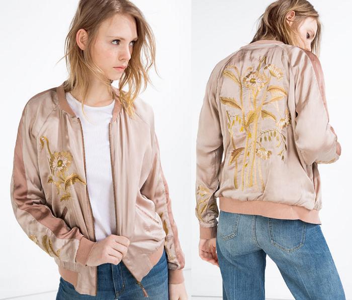 chaqueta bomber zara 2016 rosa bordada