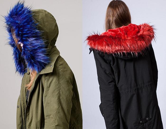 parka con pelo de colores stradivarius de moda
