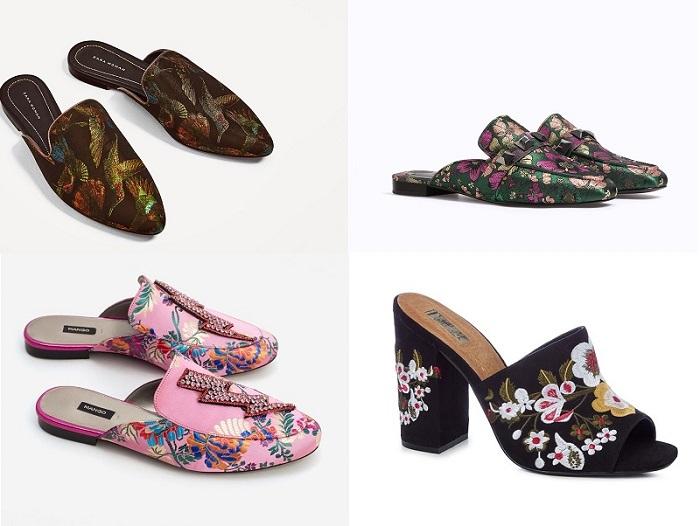 zapatos mules estampados