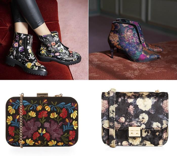 Botas y bolsos con estampado floral